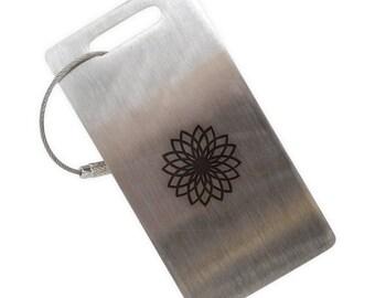 Geometric Flower Stainless Steel Luggage Tag