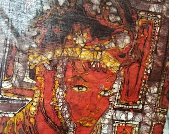 Batik Painting , Lady of Benin, African Art, By Blair Hall