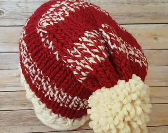 Slouchy Christmas Hat, Slouchy Winter Hat, Christmas Knitted Hat, Christmas Hat, Slouchy Santa Hat, Knitted Hat, Knit Hat, Ready To Ship