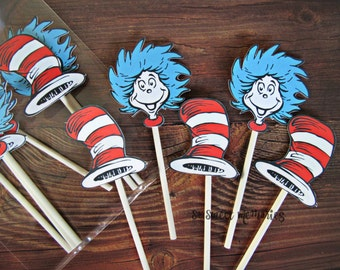 DR SEUSS Cupcake Toppers / Cake Toppers / Die Cuts / Birthday Party / Decorations / Cake Pops / Supplies / Decor / Fast Shipping