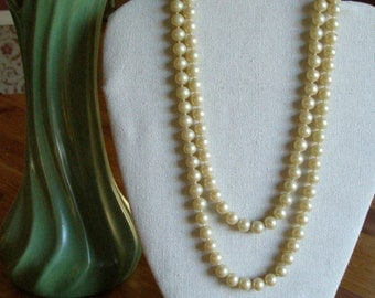 Long faux pearl beaded necklace  **Price Reduction**
