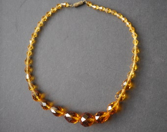 Amber coloured vintage glass beads choker