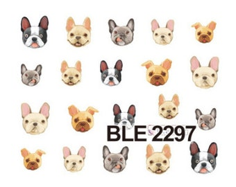Water Transfer Watermark Pretty Designs Art Decal Sticker Stamping Beauty Manicure Nail Decoration FRENCH BULLDOG DOG BLE2297