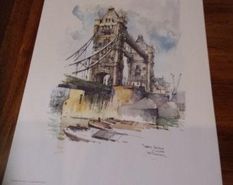 1960's Print of London's Tower Bridge