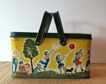 Vintage tin lunch box from circa 1940 children playing design