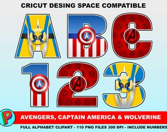 The Avengers - Captain America - Wolverine - Full Alphabet Clipart - 110 png files 300 dpi - Super Hero Alphabet - Cricut Compatible