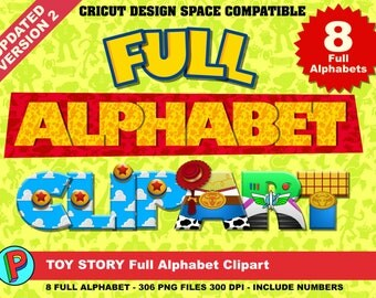 Toy Story - Full Alphabet Clipart - 8 Alphabets 8 Designs -  306 png files 300 dpi - Toy Story Party