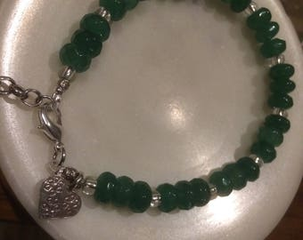 Green Jade Silver Bracelet with Hill Tribe Heart Charm