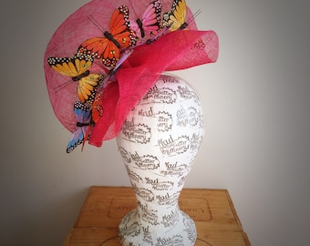 Pink Butterfly Fascinator Headpiece