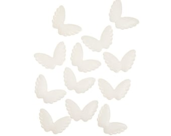 "Angel Wings, Fabric, Puffy, Iridescent White, 12 Wings, Size 2 1/8"" x 1 1/2"""