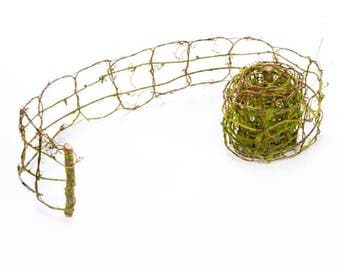 "Grapevine and Moss Garland, 3"" wide x 108"" long - Use for Fairy Garden Fence"