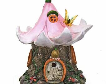 Pink Flower Solar Fairy House, Fairy Cottage, Fairy Dwelling, Flower Roof Fairy House, Fairy Garden Accessory, Illuminated Fairy House