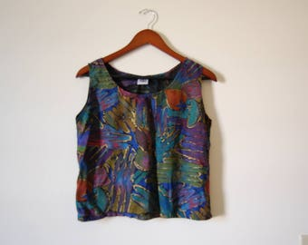 Vintage Colorful Abstract Painterly Fruit Print Rayon Crop Tank Top Shell with Metallic Gold Detail