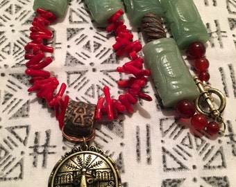 Red coral and carnilian tribal beaded necklace