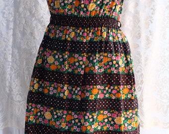 1970s handmade ,cotton .hippy ,peasant ,off the shoulder, cotton  dress