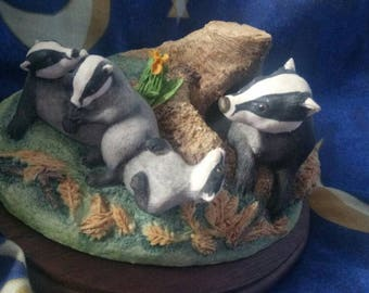 VINTAGE 1985 FAMILY LIFE WW13 Badger Family The Chiltern Collection by Border Fine Arts