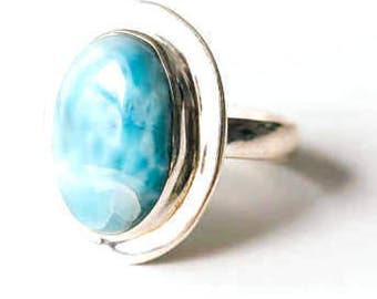 All Natural Larimar • solid sterling SILVER • Graphic • Ring • Size 6