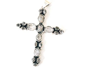 All Natural • solid sterling SILVER • Herkimer Diamond • Cross • Christian Jewelry