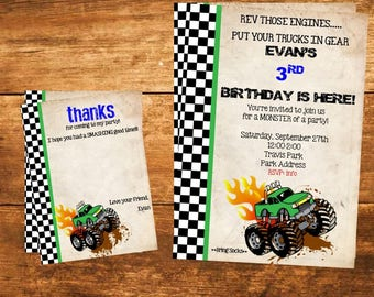 Custom Monster Truck Invite with FREE Thank You