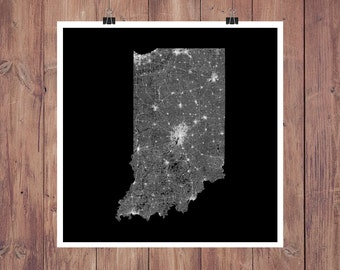 Indiana Roads High Resolution Digital Print / Map of Indiana / Indiana Print / Indiana Wall Art / Indiana Poster / Indiana Map Art