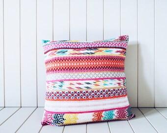 Fluro Ikat Cushion - Pink Bohemian Pillow Cover