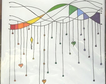 Handmade Rainbow Coloured Dangle Greeting Card, Original and finished by hand