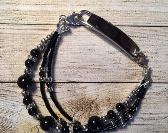 Interchangable medical alert ID bracelet. Mystic black Swarovski Crystal pearls