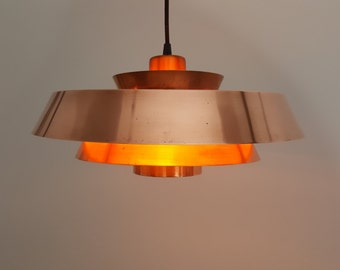 Vintage Danish Jo Hammerborg Copper Nova pendant light for Fog & Mørup, 1960s
