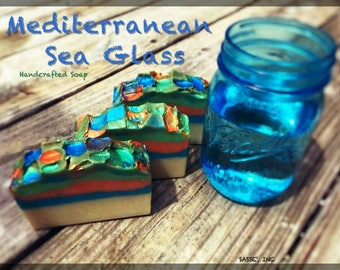 LIMITED EDITION / Mediterranean Sea Glass Soap / Handmade Artisan Soap / Mosaic / Fancy Soap / Handcrafted Soap/ Bath and Beauty / Palm Free