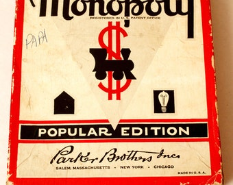 Vintage 1952 Monopoly Game, Board Game, Parker Brothers, Classic Board Game, Original Monopoly