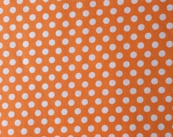Orange Dot Fabric - Michael Miller Apricot Kiss Dot Fabric - Orange and White Polka Dot Material