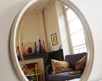 Big white round mirror 1970 Vintage