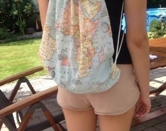 Gym bags - backpack - world map - wanderlust