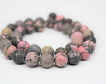 Matte Rhodonite Gemstone Round Loose beads 6/8/10mm