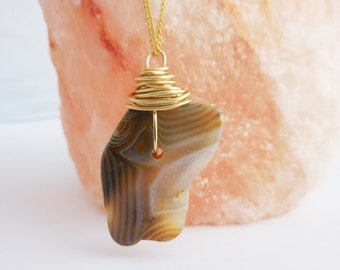 Agate Rock on Gold Chain