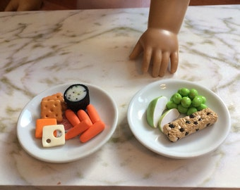 """Doll food for 18"""" dolls like American Girl doll, 1:3 scale snack pack"""