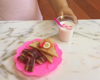 "Doll food for American Girl doll and 18"" dolls,  1:3 breakfast, french toast, bacon, strawberry smoothie"