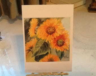 SUNFLOWER NOTE CARDS. Free Shipping