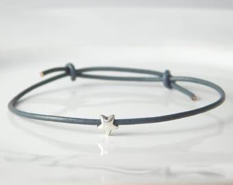 star bracelet grey leather silver star