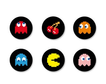 Batch Badge Button Pinback pine o25mm - o38mm / o38mm Game Arcade games PacMan Gaming Gamer Geek Vintage Retro Magnet