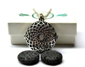 Sunflower Lava Stone Diffuser Necklace // Aromatherapy Necklace // - With Choice of Essential Oil