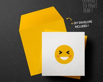 PRINTABLE Greeting card LOL smile Emoticon Smiley Emoji wishes to print DIY Envelope included instant download
