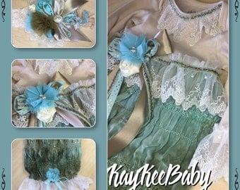 Custom vintage inspired baby layette gown and headband set