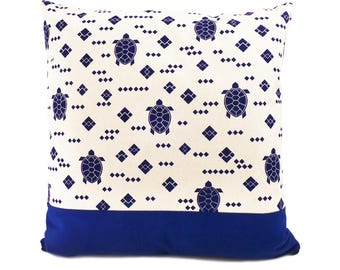 """Yuvia - hand made blue-and white pillowcase """"Turtle"""" with blue section"""