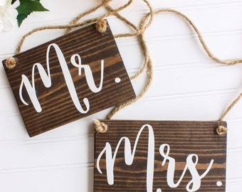 Mr and Mrs Wooden Chair Sign| Rustic Wedding Decor| Wooden Wedding Decor| Chair Sign| Farmhouse Wedding| Spring Wedding| Summer Wedding