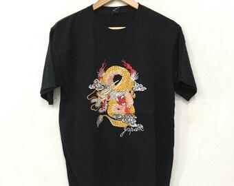 Vintage Sukajan Tee Tshirt Dragon Embroidery Souvenir Japan Black Colour Large Size