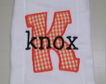 Applique Baby Burp Cloth Fabric Initial with Embroidered Name