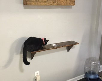 Wall mounted kitty feeder