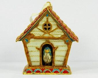 Vintage Cloisonne Copper Brass Enamel Bird Nest Figurine,Excellent Collectible Decoration Ornament.Chinese Traditional Handicraft