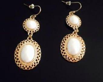 White & Gold Tone Dangle Earrings